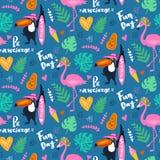 Vector тропическая безшовная картина с розовым фламинго, toucan, листьями тропика предпосылка экзотическая бесплатная иллюстрация