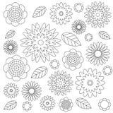 Vector луг wildflovers взрослого цветочного узора книжка-раскраски черно-белый - цветки и листья - Стоковое фото RF