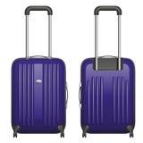 Vector фиолетовый пластичный чемодан на рицинусах с retractable ручкой, вид спереди и вид сзади Стоковая Фотография RF