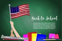 Vector флаг атолла бикини на черной предпосылке доски Предпосылка образования с задерживать рук флага атолла бикини вакханические иллюстрация штока