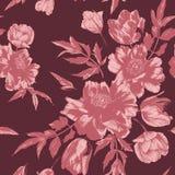 Vector флористическая безшовная картина с букетами тюльпанов и пионов Стоковое Изображение RF