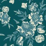 Vector флористическая безшовная картина с букетами тюльпанов и пионов стоковое фото rf