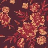 Vector флористическая безшовная картина с букетами тюльпанов и пионов стоковые изображения rf