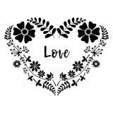 Vector флористический венок в форме сердца с бутонами листьев цветков monochrome Стоковое Изображение