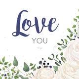 Vector флористический дизайн карточки с цветка лютика акварели границей букета лист папоротника омелы евкалипта ягоды белого голу иллюстрация штока
