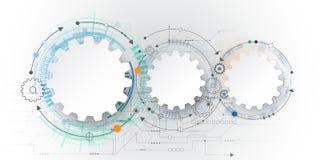 Vector футуристическая технология, колесо шестерни белой бумаги 3d на монтажной плате