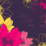 Vector флористическая карточка с местом для вашего текста Стоковые Фото