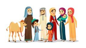 Vector характеры семьи шаржа арабские, комплект верблюда иллюстрация штока