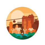Vector цвета иллюстрации высококачественные покрашенные плоские и город пальм морем Стоковое фото RF