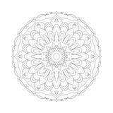 Vector цветок конспекта мандалы картины взрослой книжка-раскраски круговой черно-белый - флористическая предпосылка Стоковое Изображение