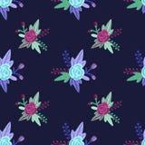 Vector цветочный узор с фиолетовыми и голубыми розами и листьями Стоковые Изображения RF