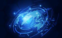 Vector цифровая глобальная концепция технологии, абстрактная иллюстрация предпосылки иллюстрация штока