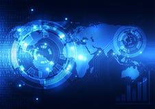Vector цифровая глобальная концепция технологии, абстрактная предпосылка Стоковые Фото