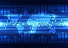 Vector цифровая глобальная концепция технологии, абстрактная предпосылка Стоковое Фото