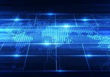 Vector цифровая глобальная концепция технологии, абстрактная предпосылка Стоковая Фотография