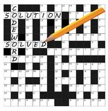 Vector часть решетки головоломки кодового слова завершенная с словами и penc Стоковое Изображение