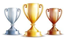 Vector чашка золота, серебра и бронзовых победителей Стоковое Изображение RF