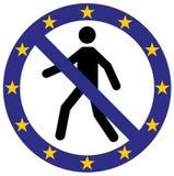 Vector человеческим запрещенный входом значок символа в цветах флага Европейского союза деньги дома владельцев дома цен принципиа иллюстрация вектора