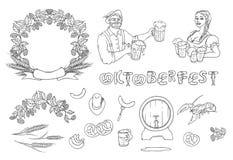 Vector черно-белая иллюстрация эскиза комплекта изолированная Oktoberfest человека и женщины в национальных костюмах с кружками Стоковое Изображение RF