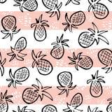 Vector черные ананасы на striped картине розовой и белой предпосылки безшовной Стоковая Фотография