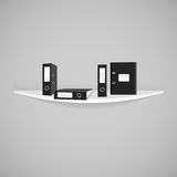 Vector черные папки офиса при изолированный механизм свода на Стоковые Фотографии RF
