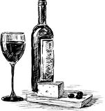 Вино и сыр виноградины Стоковое Фото