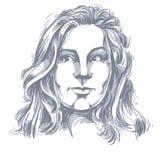 Vector чертеж задумчивой женщины думая о что-то черный иллюстрация штока