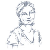 Vector чертеж искусства, портрет шикарного счастливого усмехаясь isol девушки бесплатная иллюстрация