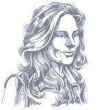 Vector чертеж искусства, портрет шикарной мечтательной девушки изолированной дальше иллюстрация вектора