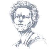 Vector чертеж сердитой женщины с стильной стрижкой чернота и wh бесплатная иллюстрация