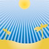 Vector чертеж солнца и экзотического ландшафта Стоковая Фотография