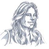 Vector чертеж усмехаясь женщины с стильной стрижкой Чернота и иллюстрация штока