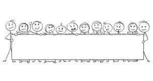 Vector человек ручки шарж 12 людей держа большой опорожняет Стоковые Фотографии RF
