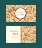 Vector шаблон визитной карточки для ресторана, магазина или кафа иллюстрация штока