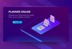 Vector шаблон для плановика онлайн, план-график места Стоковое Фото