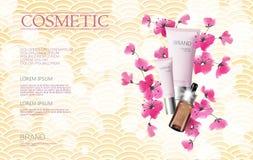 Vector шаблон знамени косметик продажи весны цветения Сакуры акварели Сеть плаката объявления розовой ветви цветка выдвиженческая бесплатная иллюстрация