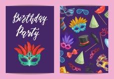Vector шаблон карточки или рогульки с масками и аксессуарами партии бесплатная иллюстрация