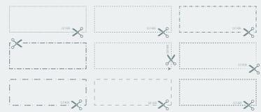 Vector шаблон талона с вне брошенным отрезком или пунктирными линиями и scissors стрелка показывая линии отрезка иллюстрация штока