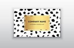 Vector шаблоны визитной карточки золота с предпосылкой хода щетки Темные точки щетки Стоковые Фото