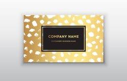 Vector шаблоны визитной карточки золота с предпосылкой хода щетки Темные точки щетки Стоковые Изображения
