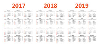 Vector шаблоны календаря 2017, 2018, 2019 Стоковая Фотография RF