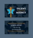 Vector шаблон визитной карточки агенства таланта с ретро микрофоном и звездами бесплатная иллюстрация