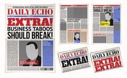 Vector шаблон ежедневной газеты, бульварная газета, репортаж оприходования плана бесплатная иллюстрация