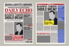 Vector шаблон ежедневной газеты, бульварная газета, репортаж оприходования плана иллюстрация вектора