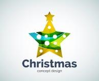 Vector шаблон логотипа украшения звезда рождества или Нового Года иллюстрация штока