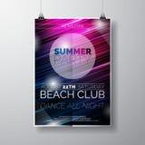 Vector шаблон плаката рогульки партии на теме пляжа лета с абстрактной сияющей предпосылкой Стоковые Фотографии RF