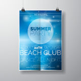 Vector шаблон плаката рогульки партии на теме пляжа лета с абстрактной сияющей предпосылкой иллюстрация штока