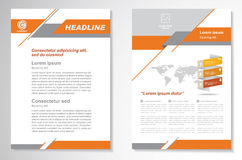 Vector шаблон плана дизайна рогульки брошюры, размер A4, титульный лист и задняя страница, infographics Легко для использования и Стоковое Изображение