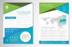 Vector шаблон плана дизайна рогульки брошюры, размер A4, титульный лист и задняя страница, infographics Легко для использования и Стоковые Фотографии RF