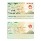 Vector шаблон стикера визы пасспорта Китая международный в плоском стиле Стоковые Изображения RF